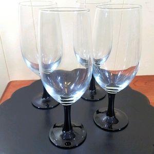 Vtg French Black Stem Wine Glasses